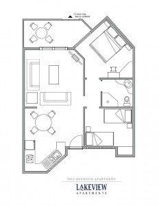 Floor plan of 2 bedroom apartment