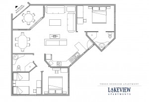 Floor plan of 3 bedroom apartment