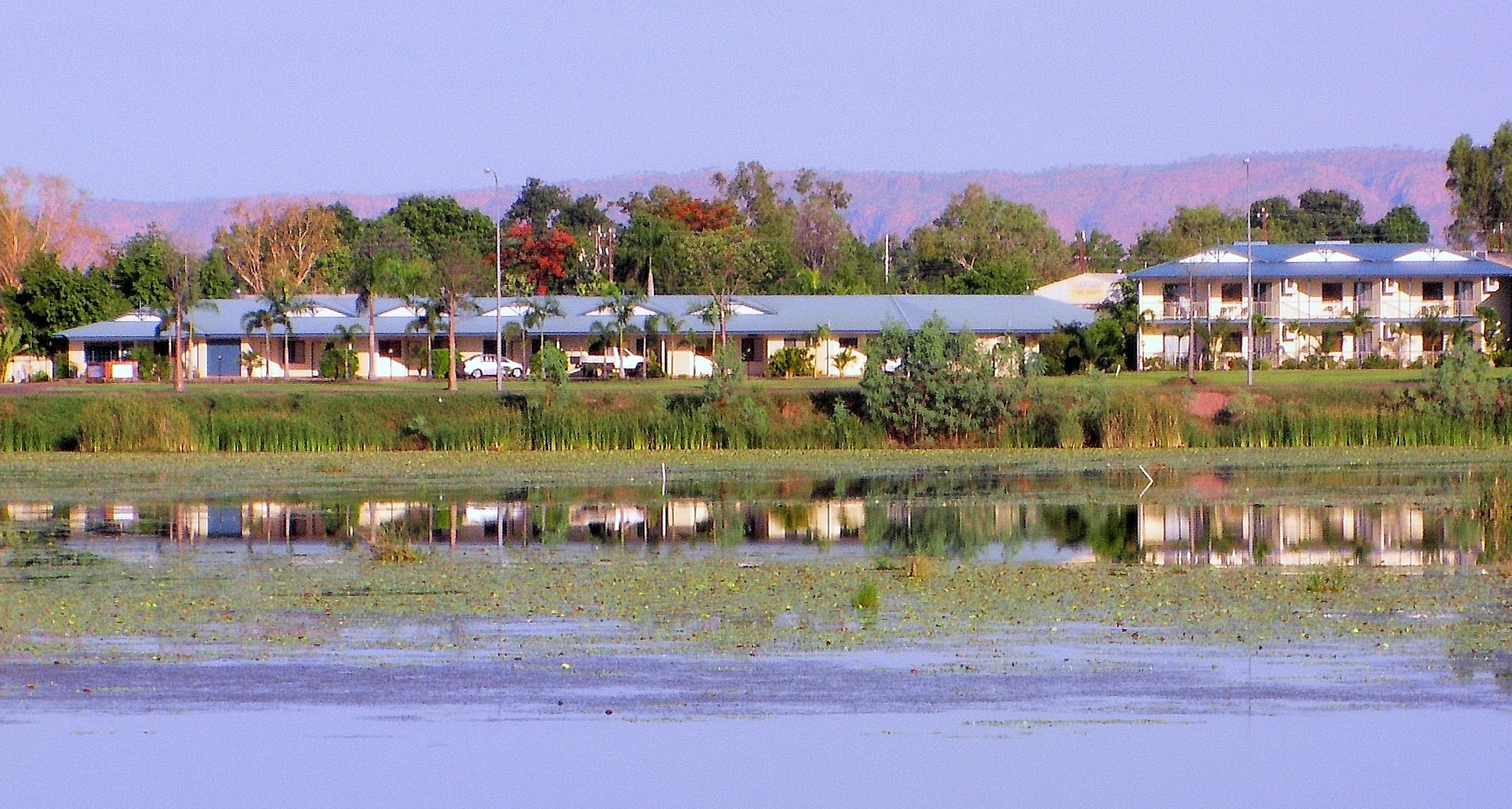 View of hotel next to Lily Creek Lagoon