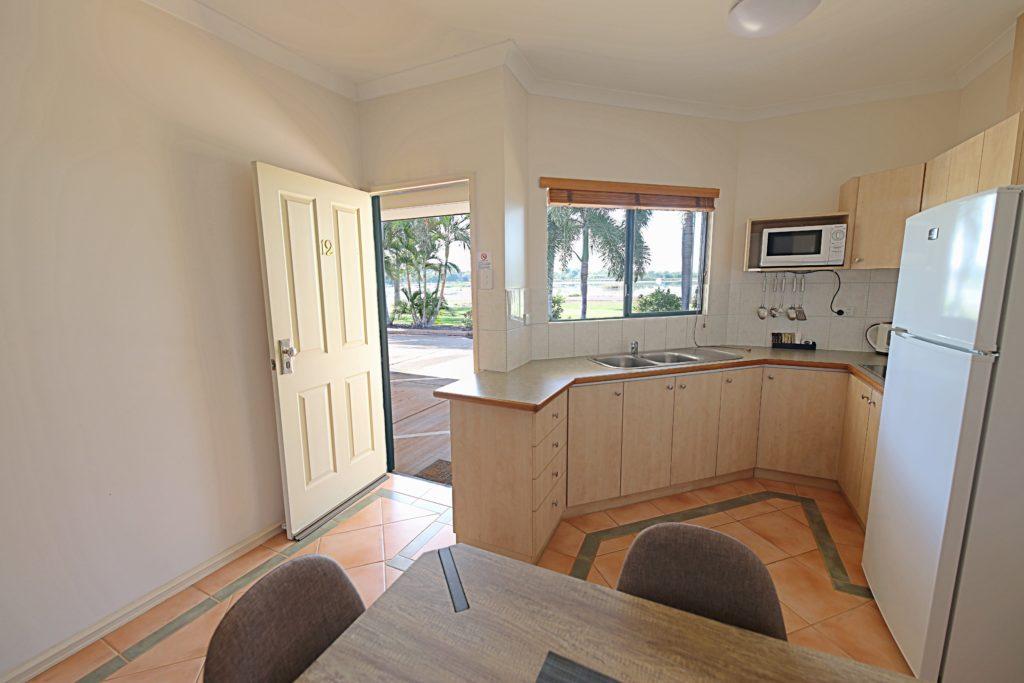 kitchen overlooking Lily Creek Lagoon